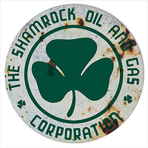 Victory Vintage Signs Large Reproduction Shamrock Corporation Oil and Gas  Sign 18 Round
