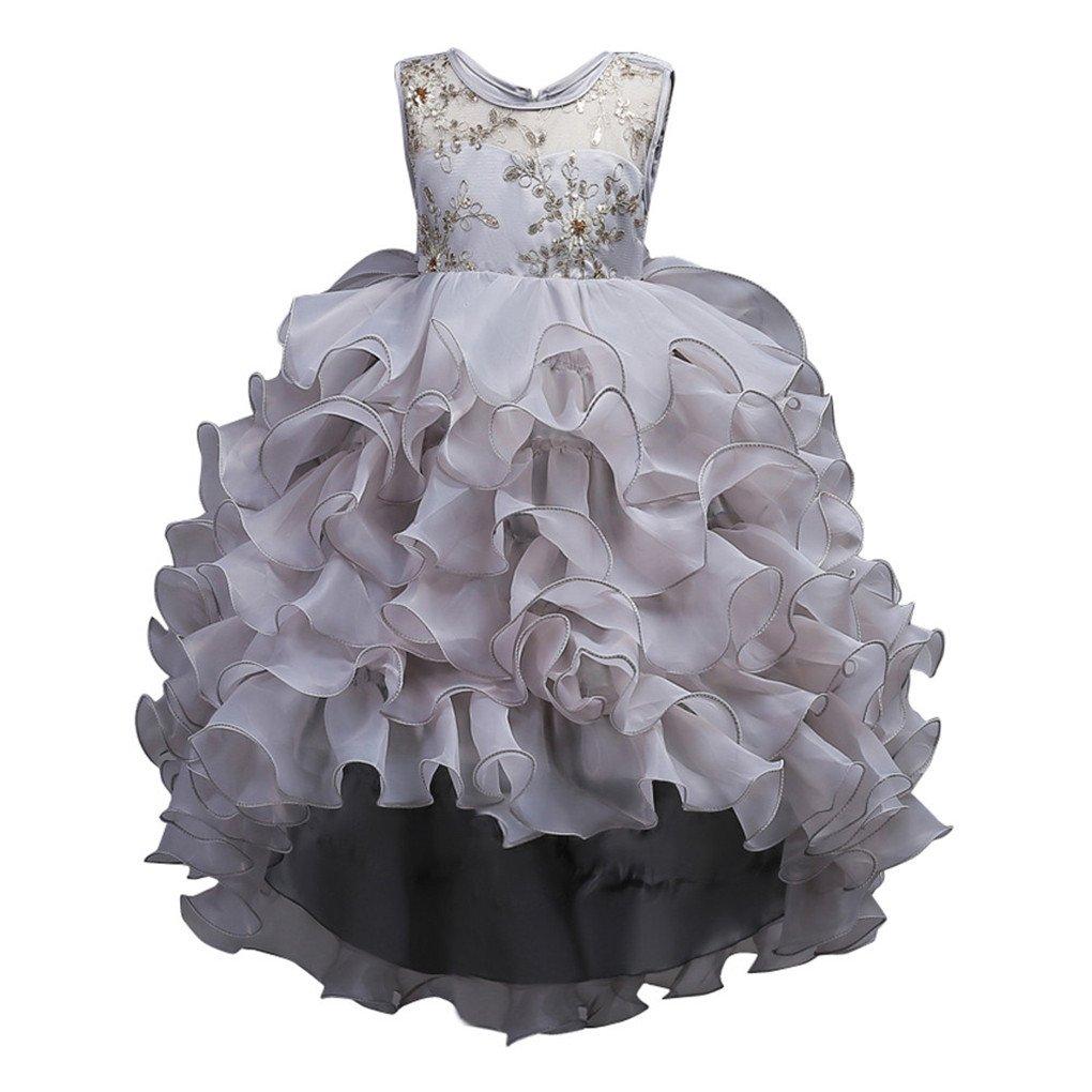 JYJM Vestido de vestido de niña de moda, casual, bonito, con diseño de flores, vestido de princesa con capas, vestido de tutú con tutú, vestido de fiesta de ...