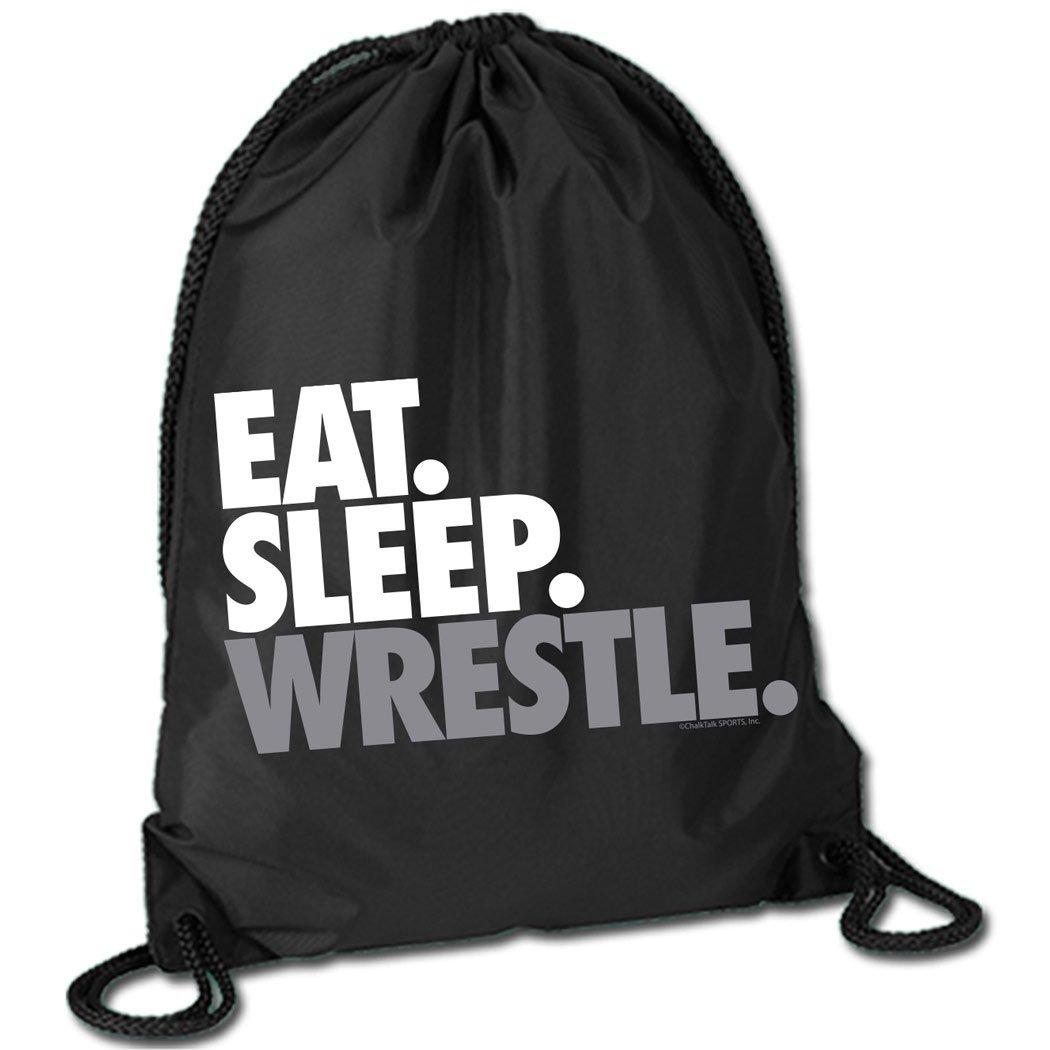 Eat Sleep Wrestle (Stack) Cinch Sack | Wrestling Bags by ChalkTalk SPORTS | Black