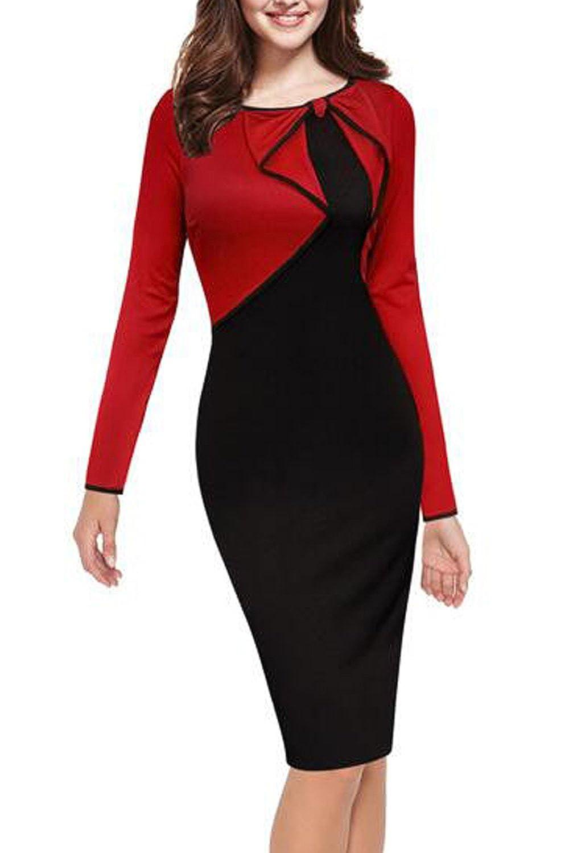 Women Elegant Long Sleeve Colorblock Bodycon Office Dress CANZ704