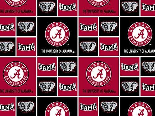 University Cotton Fabric - University of Alabama Crimson Tide Football Licensed Block Cotton Fabric 45'' Sold by The Yard