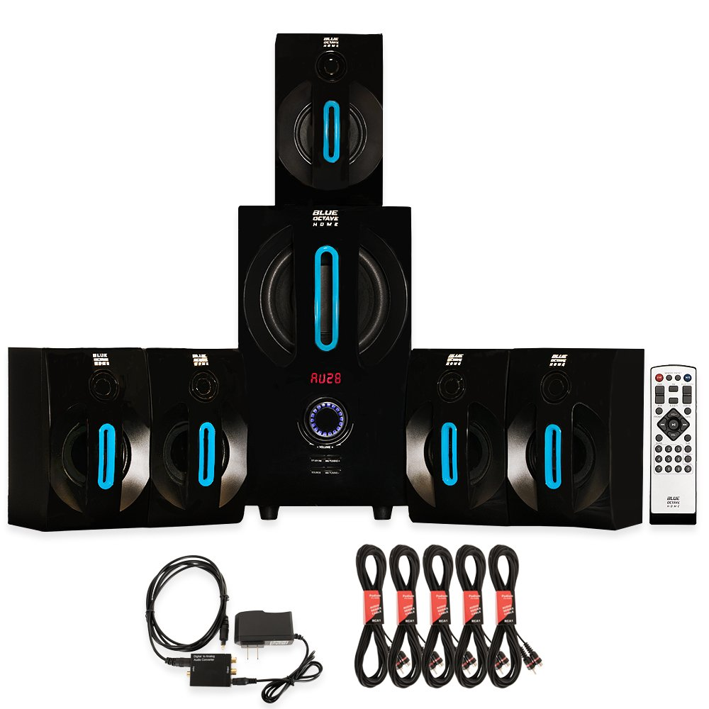 Blue Octave B52 Home Theater 5.1 Bluetooth Speaker System with Optical Input and 5 Extension Cables
