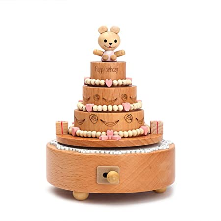 Yunhigh Music Box Wooden Happy Birthday Cake Figurine Wind Up