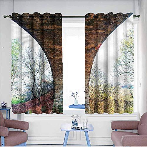 VIVIDX Curtains for Bedroom,Landscape,Pillar of Stone Bridge,Hipster Patterned,W63x63L