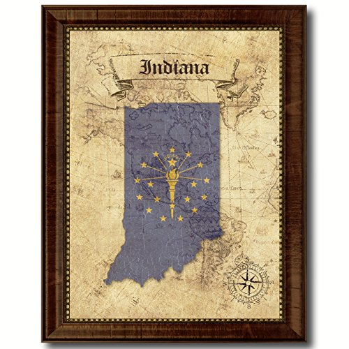 (Indiana State Vintage Map Flag Canvas Print with Custom Brown Picture Frame Gifts Home Decor Wall Art Decoration, 15