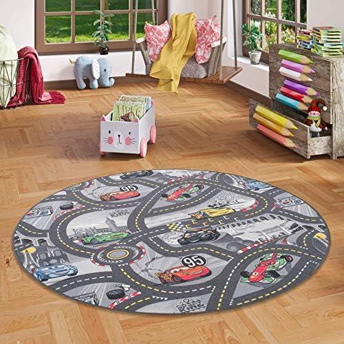 Grigio Stelle Snapstyle Tappeto per Bambini 4 Dimensioni Rotondo