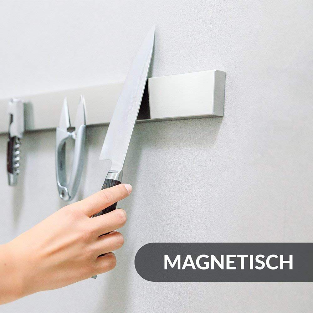 YANGMAN Wall Magnetic Knife Holder,Multi-Purpose Functionality As A Knife Holder Knife Strip Knife Rack Magnetic Tool Organizer 40 cm Stainless Steel Bar (Silver) by YANGMAN (Image #3)