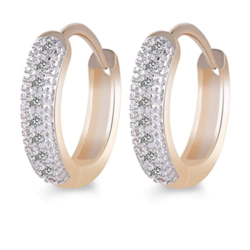 a3cea53ec8939 GULICX Gold Plated Base Cubic Zirconia Rhinestone Amazing Girl Small Hoop  Earrings Christmas Gift