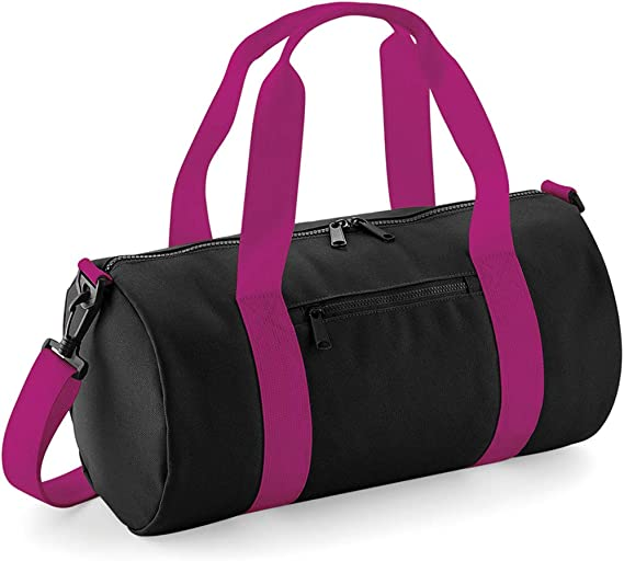 Mini sac polochon Noir//Fuchsia Taille unique Bagbase