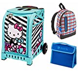 Zuca Kids' Mini ''Hello Kitty, Stripes and Bows'' Bag with Aqua Frame, Mini Explorer Backpack and Snack Pouch