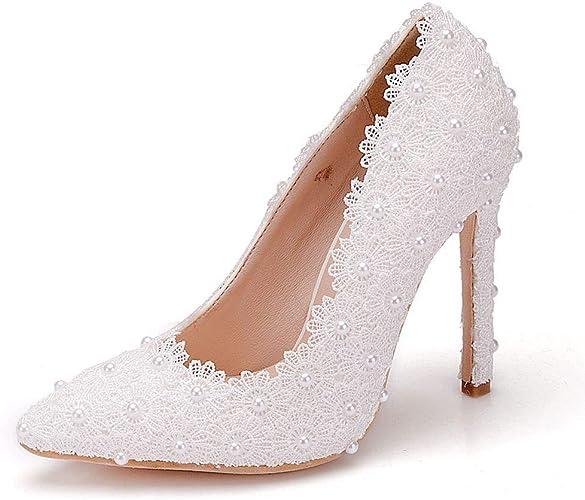 Scarpe Sposa Pizzo Bianche.Donne Scarpe Da Sposa Con Fiore In Rilievo Di Pizzo Bianco Scarpe