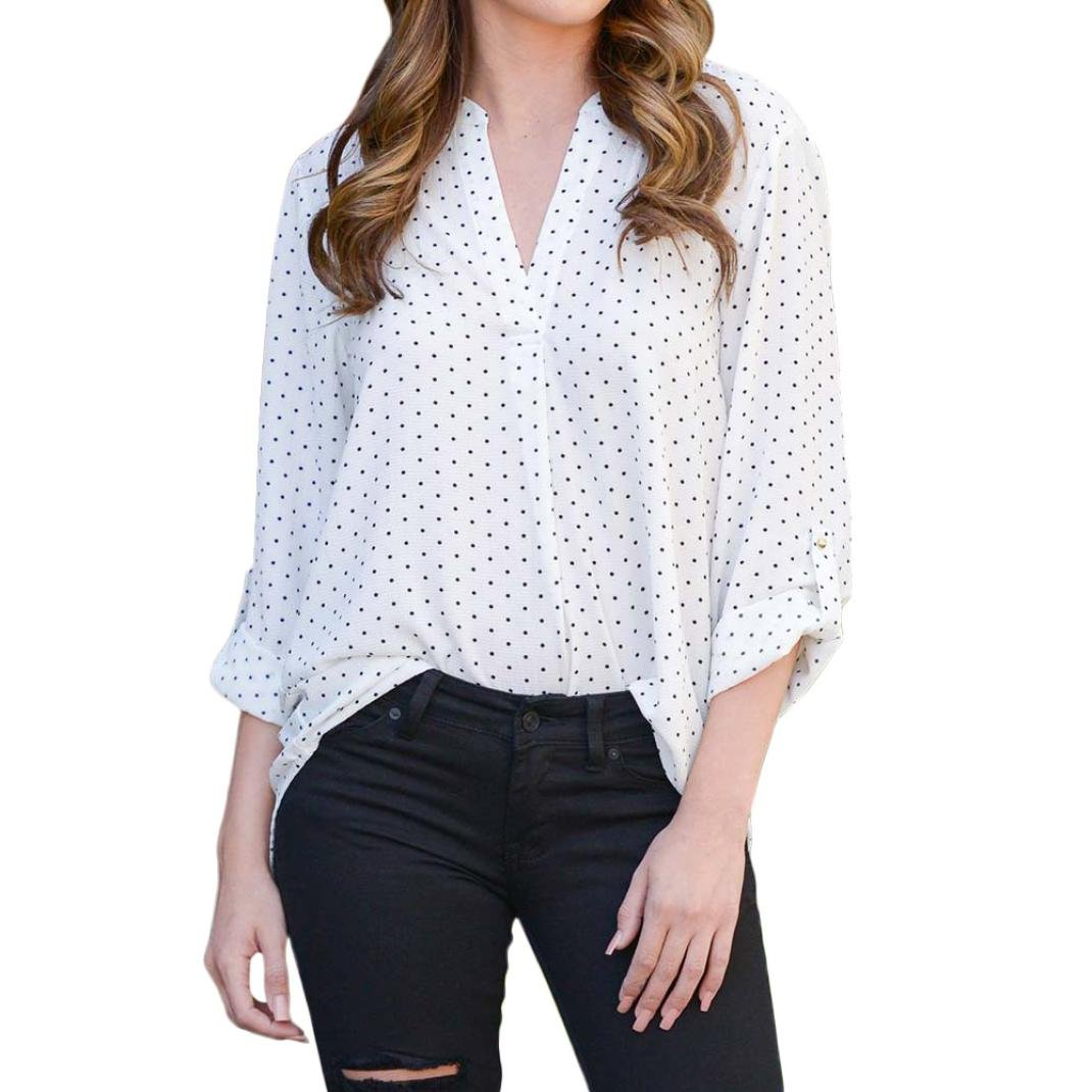 kingfansion Women Loose Button Trim Blouse Polka Dot Top Long Sleeve Tunic T-Shirt kingfansion women top