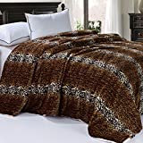 BOON Soft and Thick Faux Fur Sherpa Backing Bed Blanket, Cheetah, 84'' x 92''