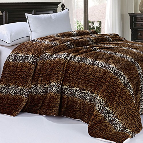 Bed Cheetah - BOON Soft and Thick Faux Fur Sherpa Backing Bed Blanket, Cheetah, 84
