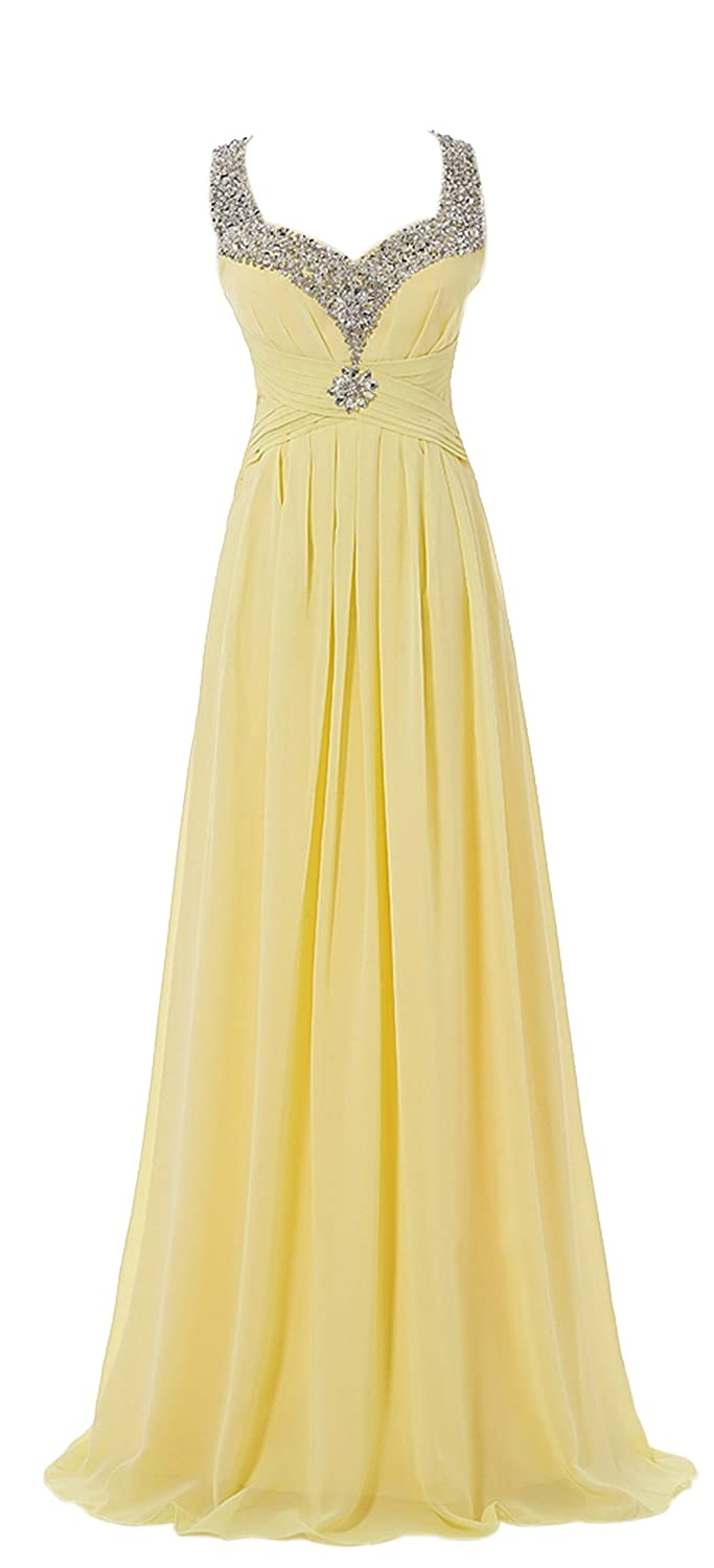 AngelDragon Straps Formal Evening Gowns Beading Ruched Chiffon Party Dress