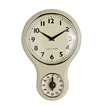 Attractive ProCook Retro Kitchen Clock U0026 Timer Dark Cream