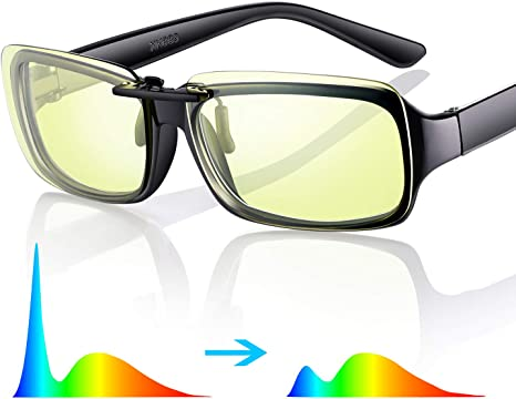 Sleep Better Easy Fit on Rx Frames GAMEKING Ultra Lightweight Blue Light Blocking Clip-on Computer Glasses Gaming Glasses Rimless Digital Eyestrain Fatigue Headache Relief