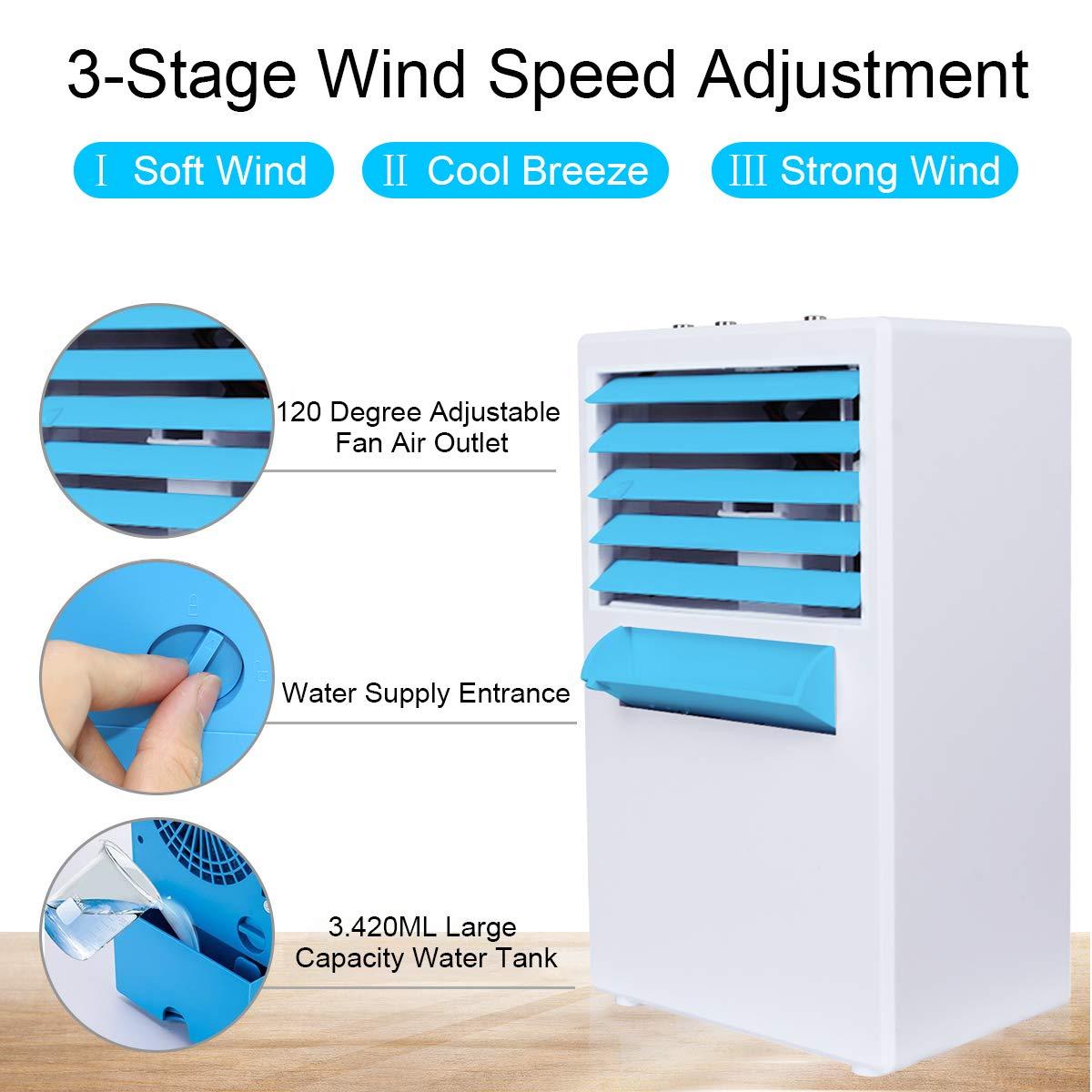 Mini Luftk/ühler Mobile Klimaanlage Luftbefeuchter Luftreiniger Tragbare Klima Ventilator mit 3 Geschwindigkeitsstufen f/ür B/üro Schlafzimmer Haushalt Air Cooler