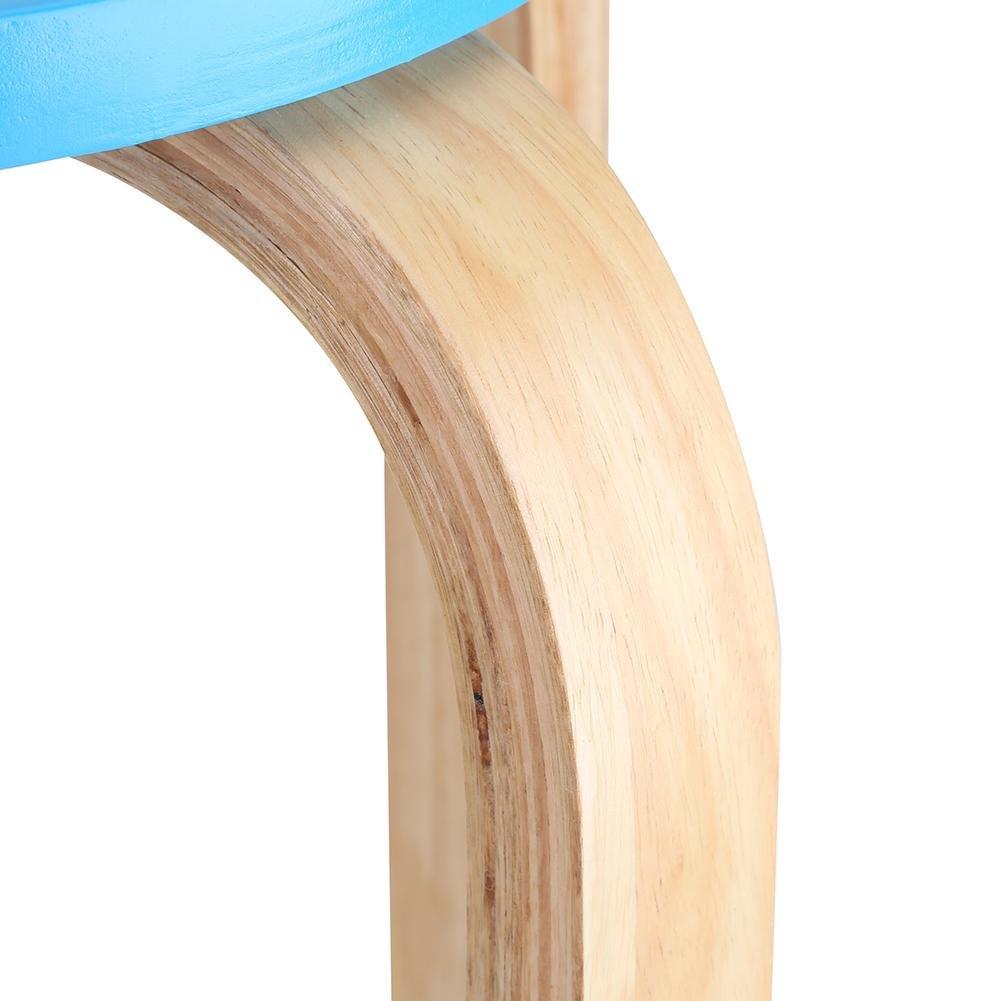 Tabouret En Bois Courb/é 1Pc Anti-Slip Tabouret Empilable En Bois Bonbons Couleur Meubles /À La Maison Enfants Chambre D/écor Rose