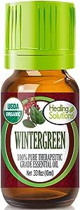 Organic Wintergreen Essential Oil (100% Pure - USDA Certified Organic) Best Therapeutic Grade Essential Oil - 10ml