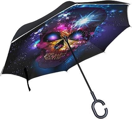 Inverted Umbrella with Marlin Fish Skull Skeleton Print Car Reverse Folding Umbrella