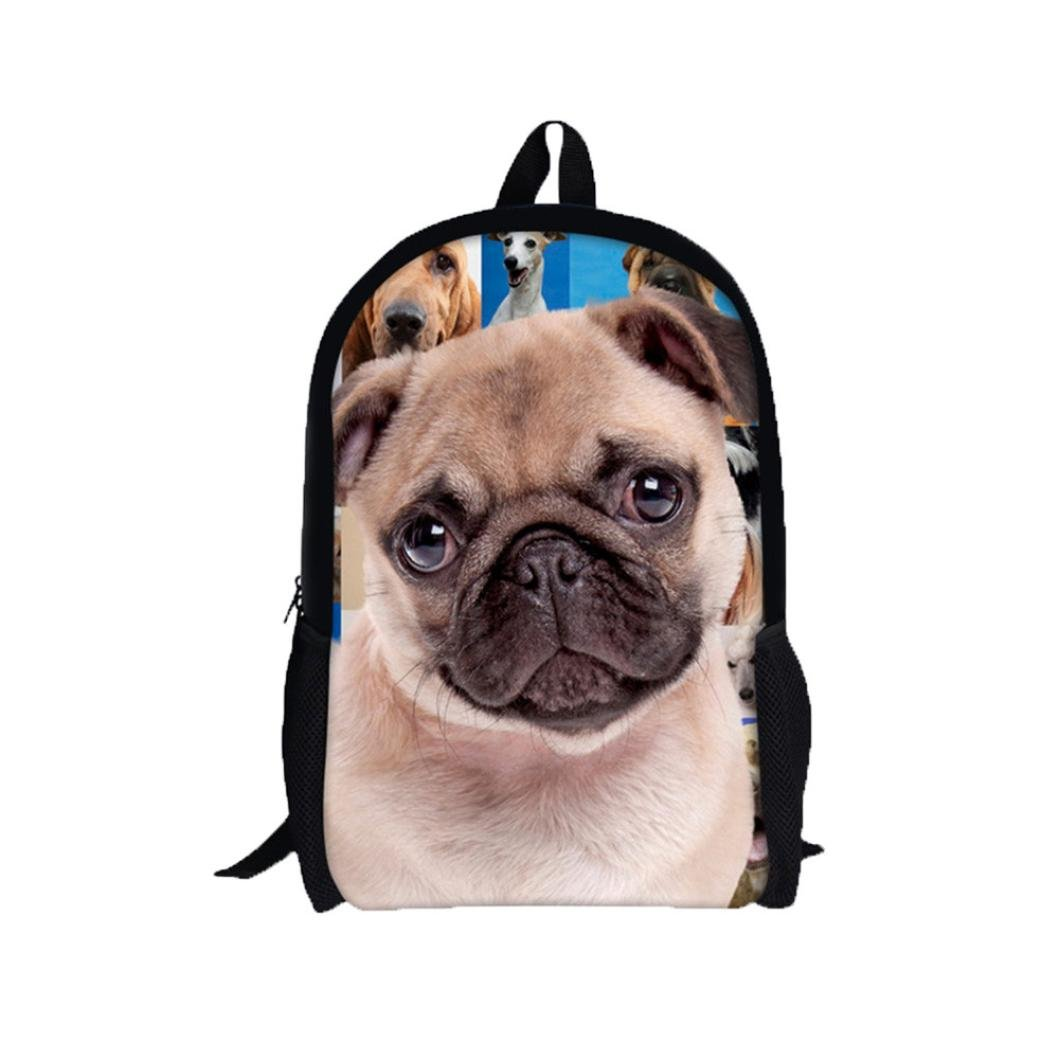 Creazy 3D Animal Print Shar Pei Dog Backpack Rucksack School College Shoulder Bags (A)