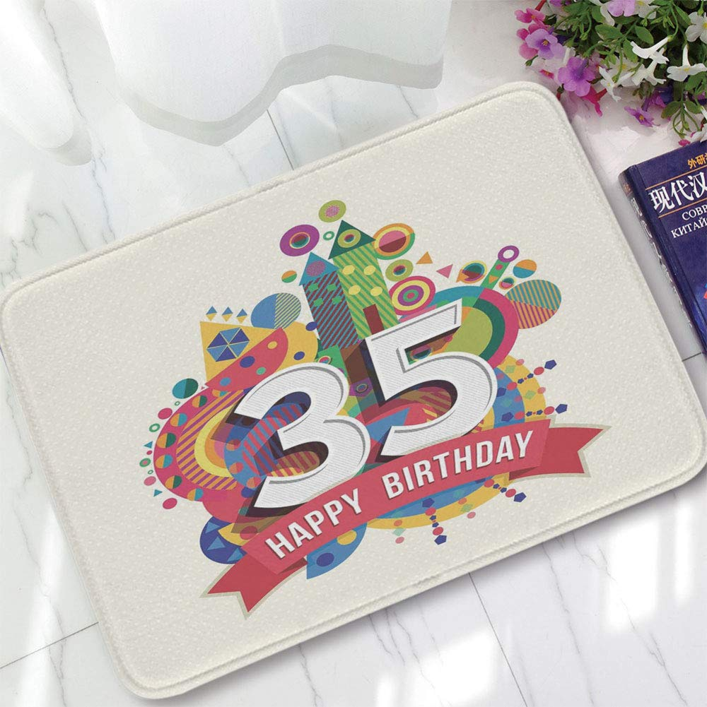YOLIYANA Ultra-Soft Mat,35th Birthday Decorations,for Kitchen Living Room,15.75''x23.62'',Middle Age Greeting Gift Number Fun