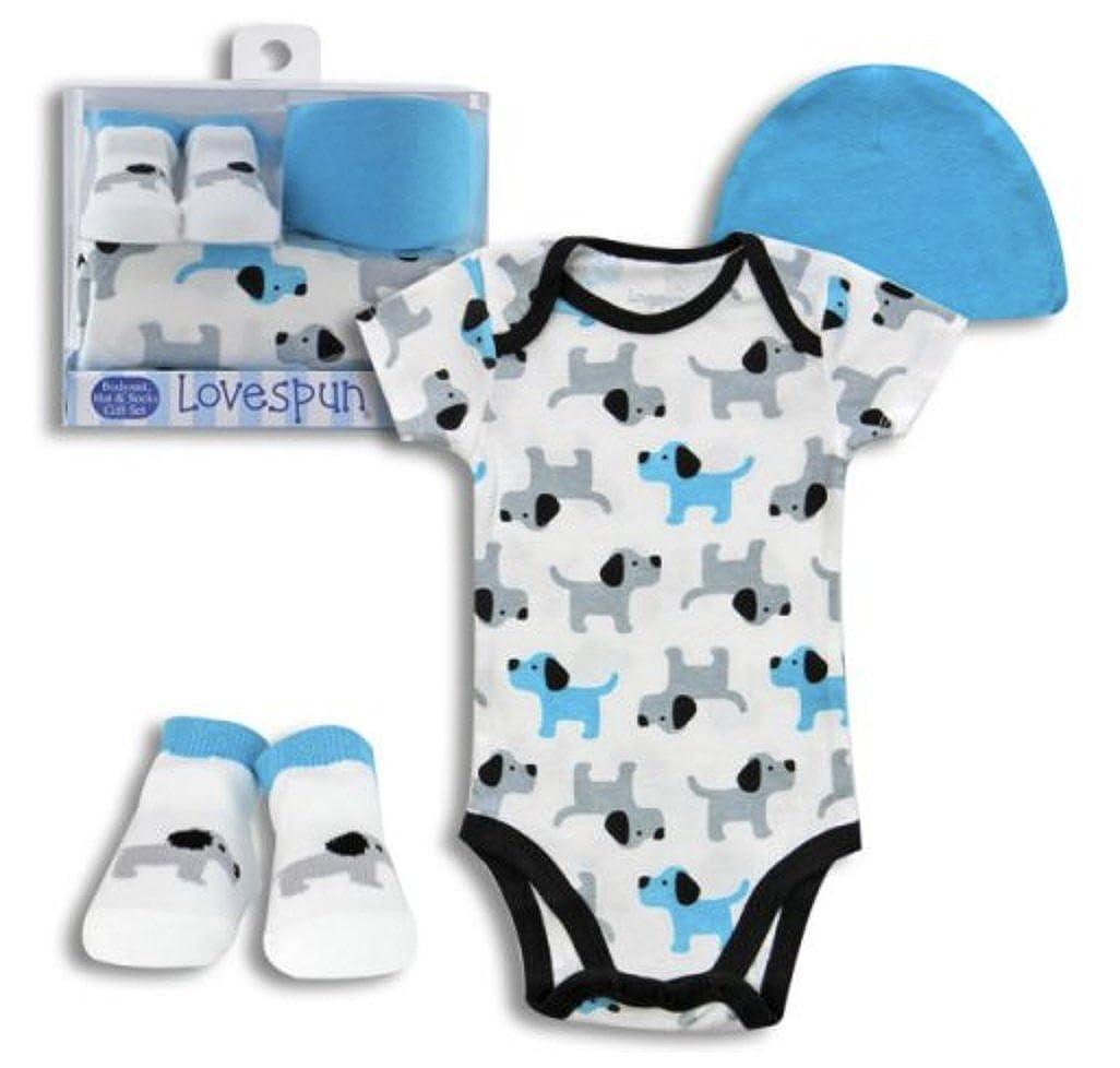 New in Gift Box 0-6 Months Lovespun 3 Piece Baby Boy Layette Set Puppies