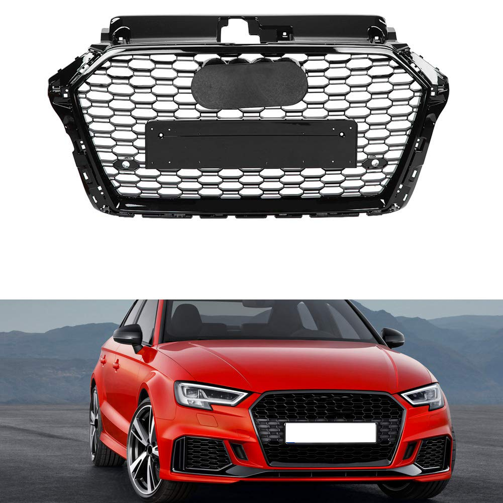 KIMISS RS3 Style Front Sport Hex Mesh Honeycomb Hood Grill Negro brillante para A3 S3 8V 17-18