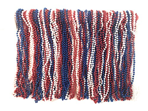 The Mardi Gras Krewe Mardi Gras Beads 33 inch 7mm, 10 Dozen, 120 Pieces (Red White Blue)