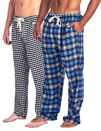 Ashford & Brooks Mens Soft Flannel Plaid Pajama Sleep Pants 2 Pack - Black Blue/Ivory Navy - XXX-Large (Tall Pants Flannel Plaid)