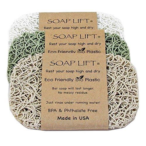 (Soap Lift Pad Set of Three Spa Colors, Bone,White,Sage)