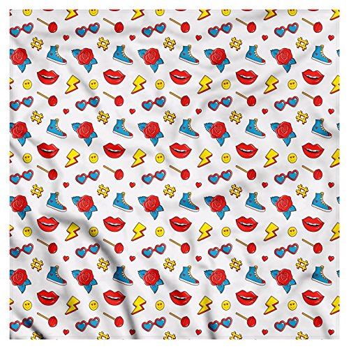 Emoji Bandana by Ambesonne, Hipster Pop Art Theme 90s Fashion Comic Book Figures Lollipop Shoes Lips Roses, Printed Unisex Bandana Head and Neck Tie Scarf Headband, 22 X 22 Inches, Yellow Red Blue from Ambesonne