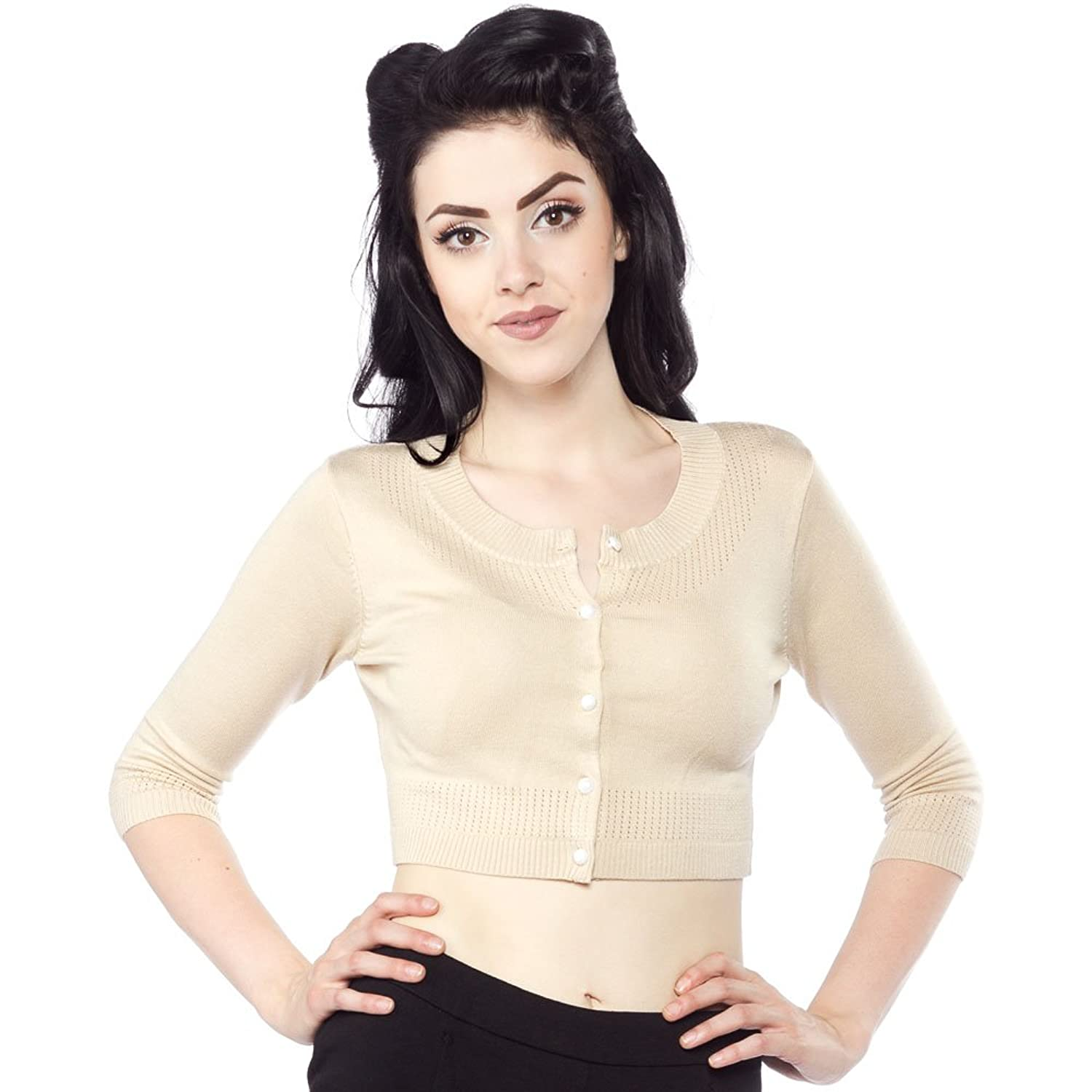 1950s Style Sweaters, Crop Cardigans, Twin Sets Sourpuss ¾ Sleeve Pointelle Cardigan Cream $45.99 AT vintagedancer.com