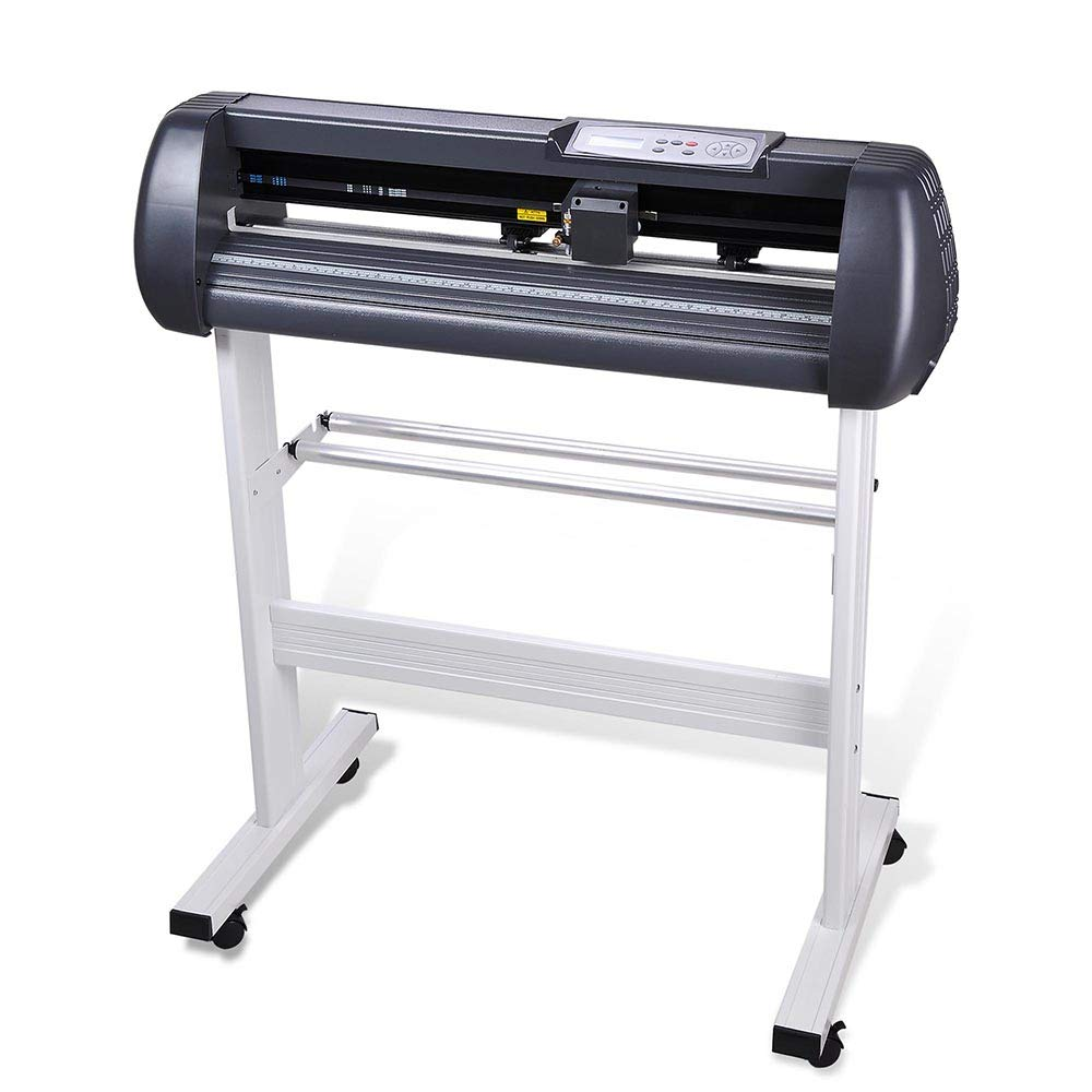 Cutting Plotter Vinyl Cutter Machine 28'' Adjustable Width with LCD Display USB Connection Auto Memory Digital Force Speed Rotating Blade Holder Stepper Motor US Delivery