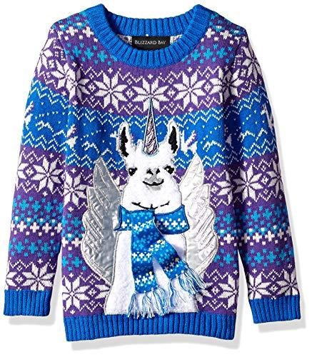 (Blizzard Bay Boys' Big Long Sleeve Crew Neck Llama Pegasus Ugly Christmas Sweater, Blue Combo, M)