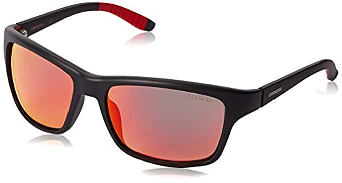 Carrera ca8013s rectangular gafas de sol polarizadas, (Matte Black / Red Polarized & Carekit