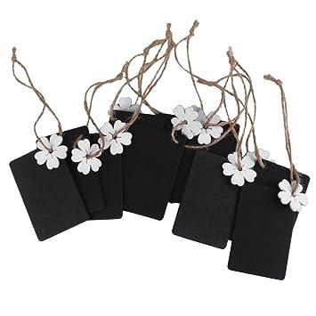 10pcs Mini Pizarra Tablero Etiqueta Rectángulo Flor Decoración para Hogar Boda (blanco)