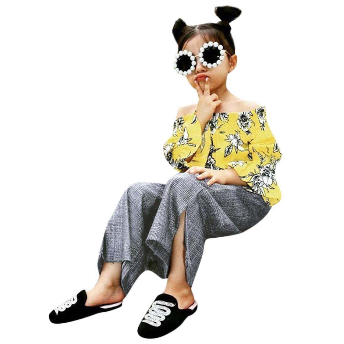 【楽天最安値に挑戦】 Dinlong Clothing Set DRESS DRESS B07F1FS945 ベビーガールズ 4-5 Set Years イエロー B07F1FS945, ビースタービー:b52a13db --- albertlynchs.com