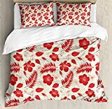 Hawaii Duvet Cover Set King Size by Ambesonne, Pacific Ocean Foliage Flowering Hibiscuses and Buds Monochrome Wildlife Illustration, Decorative 3 Piece Bedding Set with 2 Pillow Shams, Ivory Red