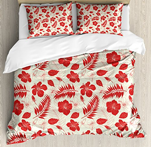 Ambesonne Hawaii Duvet Cover Set Queen Size, Pacific Ocean Foliage Flowering Hibiscuses and Buds Monochrome Wildlife Illustration, Decorative 3 Piece Bedding Set with 2 Pillow Shams, Ivory Red by Ambesonne