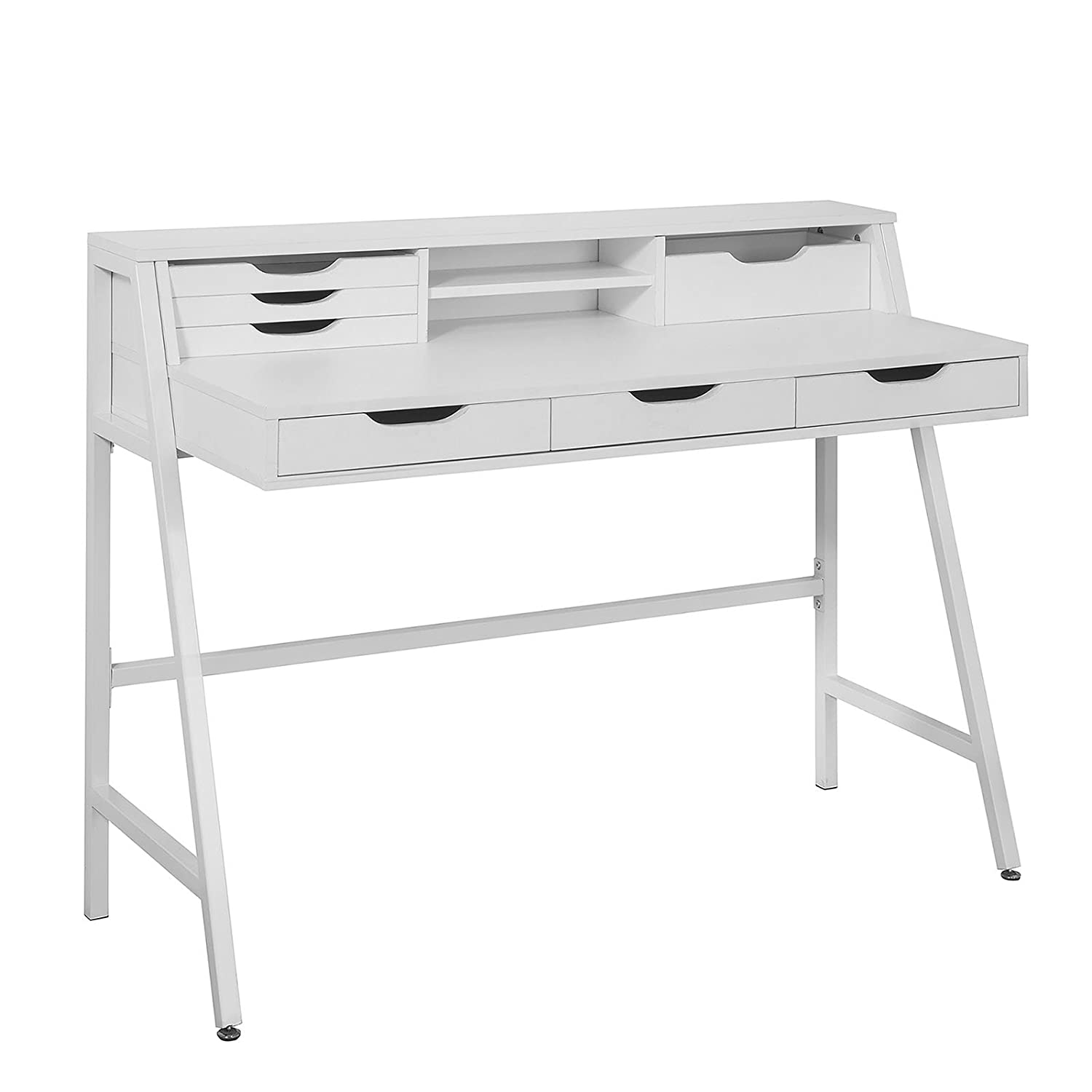 SoBuy FWT45-W, Computer Desk Reading Desk Home Office Table Desk Workstation with Storage Shelves