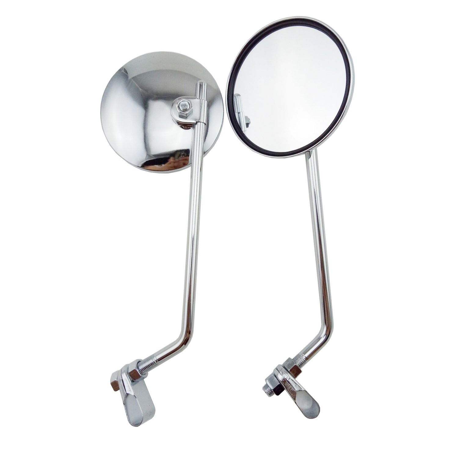 OKSTNO 2pcs Custom Chrome Rearview Mirror Free Adapters Mirrors Fits Most Motorcycle