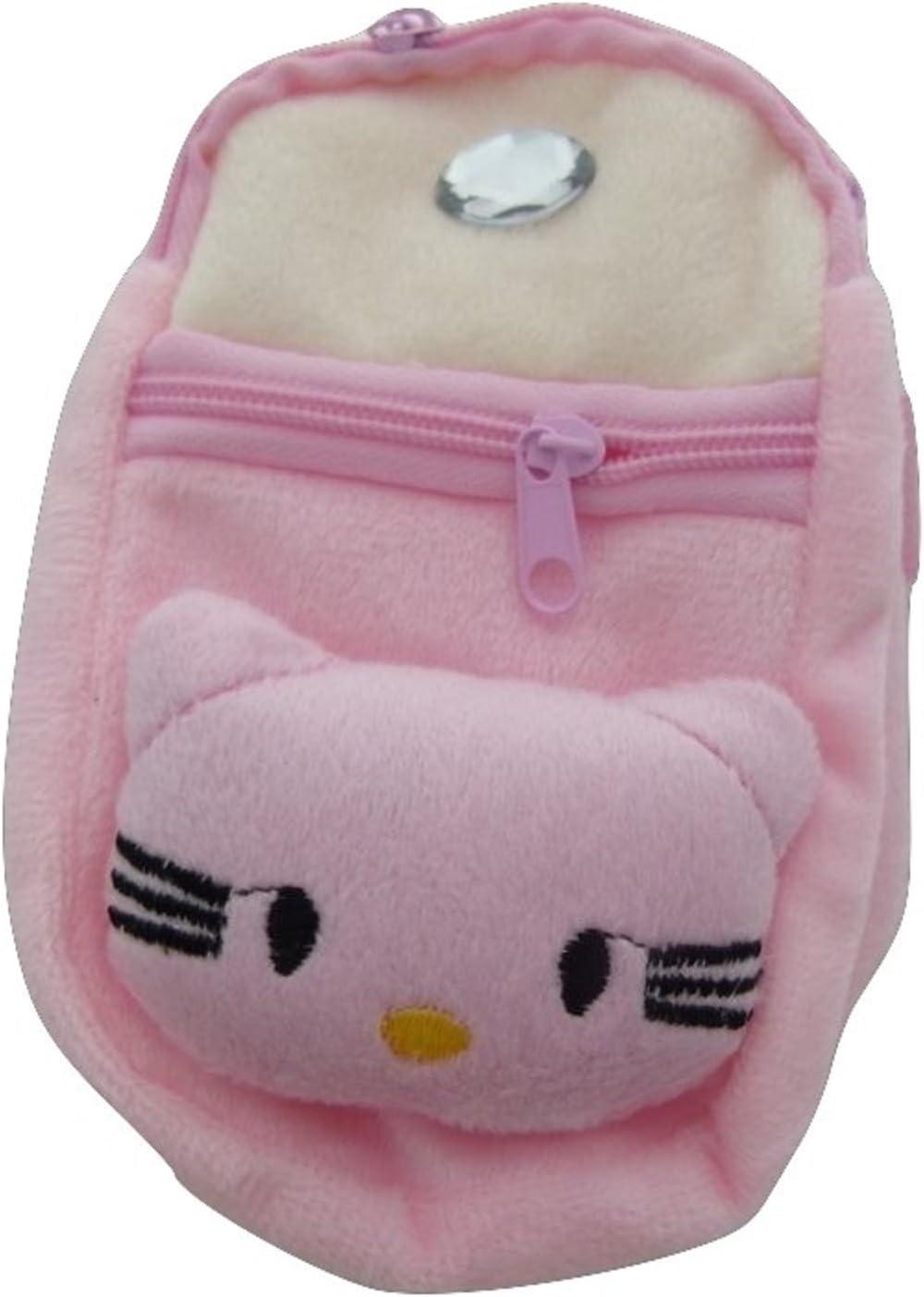 PartyErasers Kawaii Zipper Pouches Cute Animal Face Design Pink