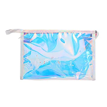 1613fb1ff882 Amazon.com : Gabrine Womens Clear Transparent Hologram Cosmetic Bag ...