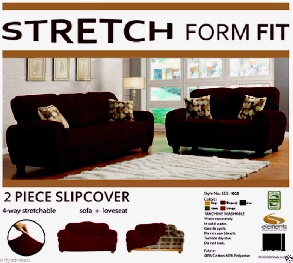 Orly's Dream 2 pcs Stretch Form Fit Slipcovers Set, Couch/Sofa And Loveseat Cover (Chocolate Brown) Orly' sDream