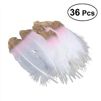 ULTNICE 36 plumas blancas rosas y doradas para manualidades, boda y fiesta vestido arriba