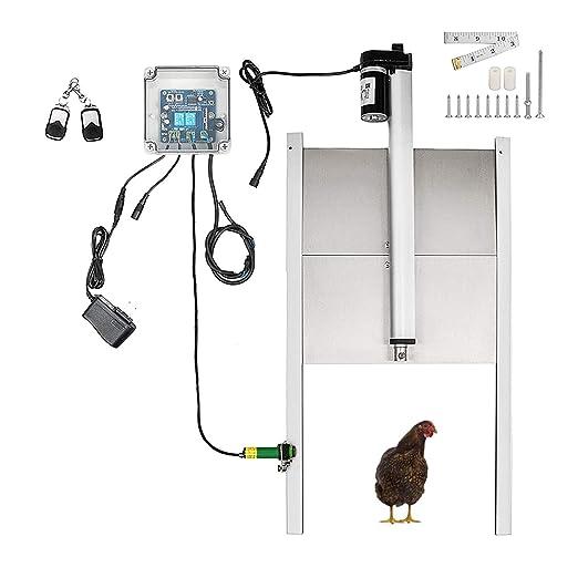 TZUTOGETHER Kit abrepuertas automático gallinero,apertura de puerta de gallinero con sensor de luz/temporizador,con control remoto,Impermeable&Límite automático&Función de parada de emergencia