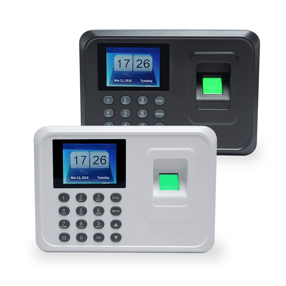 Aibecy Intelligent Biometric Fingerprint Password Attendance Machine Employee Checking-in Recorder 2.4 inch TFT LCD Screen DC 5V Time Attendance Clock by Aibecy