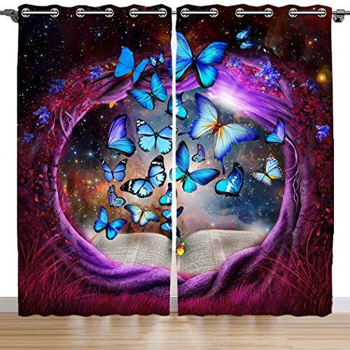 (SXCHEN Blackout Curtains 2 Panels Grommet Bedroom Curtain Purple Tree Hole Blue Butterfly W54 x L84)